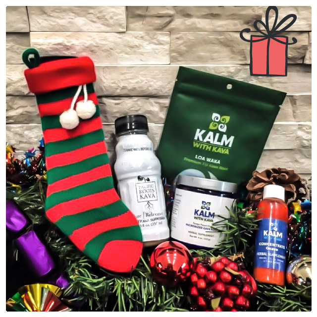 Kava Products with Christmas stocking